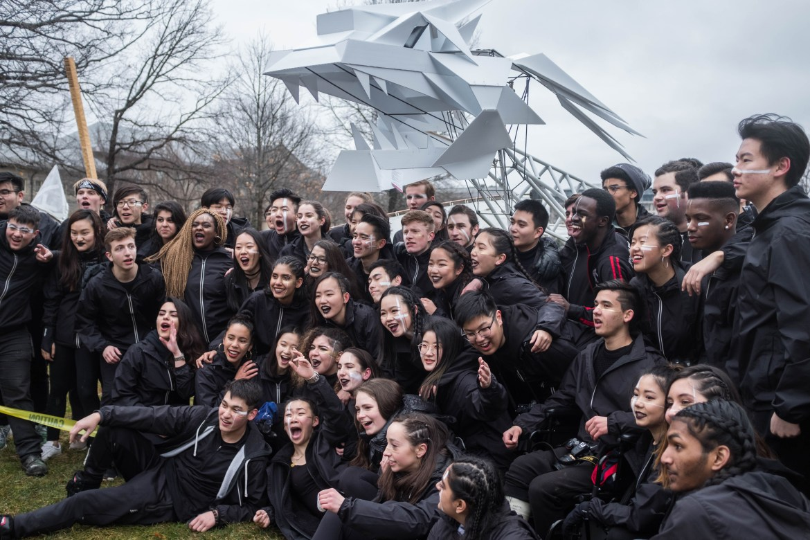 First-year architecture students proudly paraded their dragon through campus.