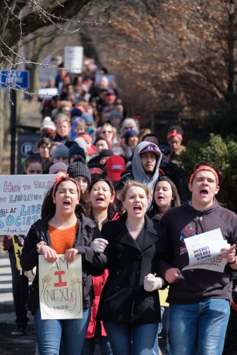 Students marched down to the Commons to join the Ithaca rally against gun violence.