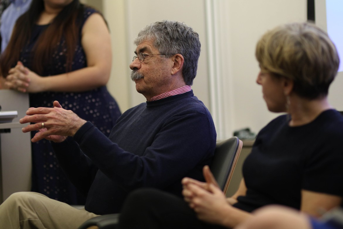 Prof. Ronald Harris-Warrick, neurobiology and behavior, addresses trends in the opioid epidemic in New York at a panel on Tuesday.