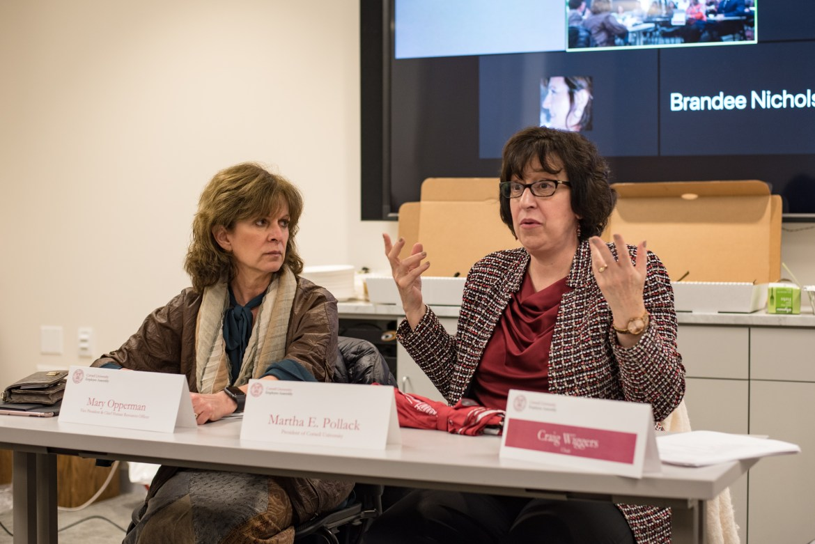 President Martha E. Pollack and vice president and chief human resources officer Mary Opperman held an open forum during the Employee Assembly meeting on Wednesday. They discussed employee concerns including government changes, sexual assault and gun violence.