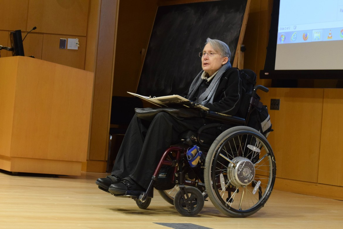 "Prof. Crosby lectured on breaking the ""redemptive narrative"" associated with disability and grief."