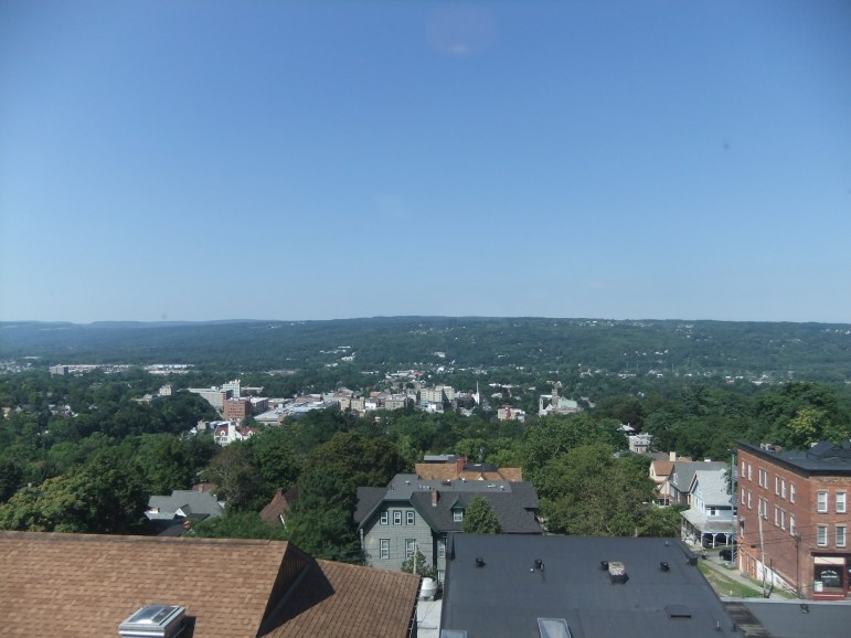 The view of downtown Ithaca, west from Reynolds' apartment on the eighth floor of Collegetown Plaza.