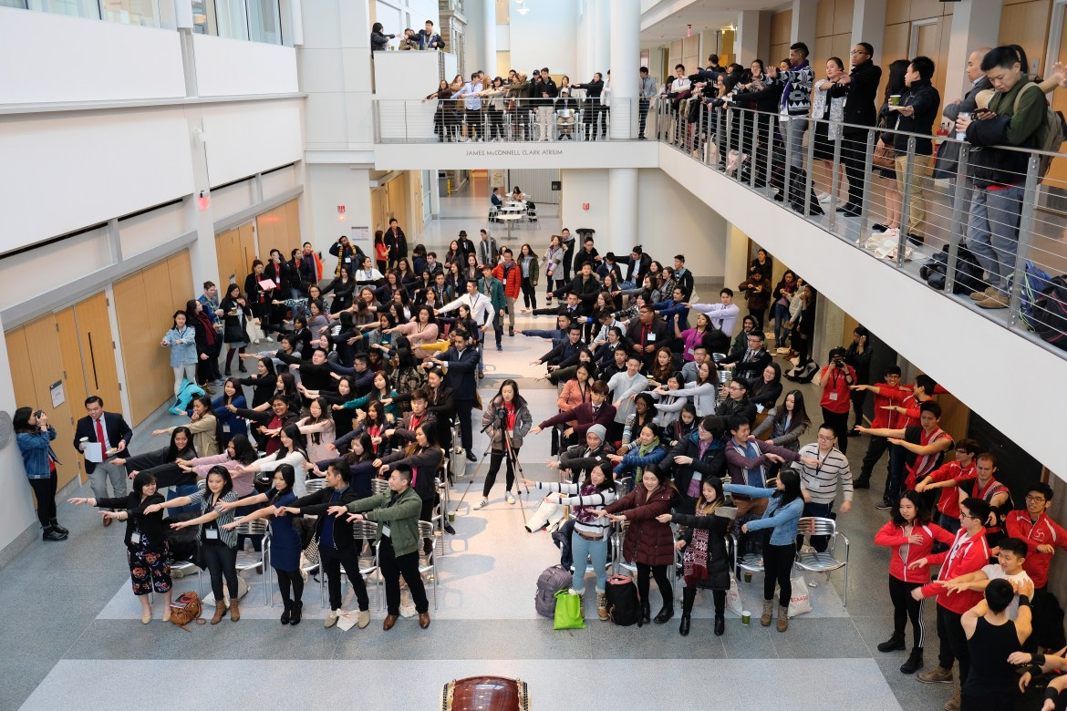 Asian American students from the east coast gather at Physical Science Building to kick off the conference on Saturday.