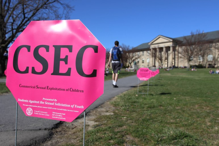 Students Against the Sexual Solicitation of Youth placed signs on the Arts Quad to raise awareness of the commercial sexual exploitation of children.