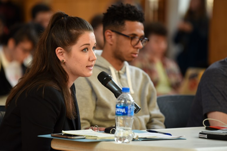The judicial codes counselor, Kendall Karr, law '18, and Travis Cabbell '18 disagree over who has the authority to make the final ruling on whether a candidate should be disqualified.