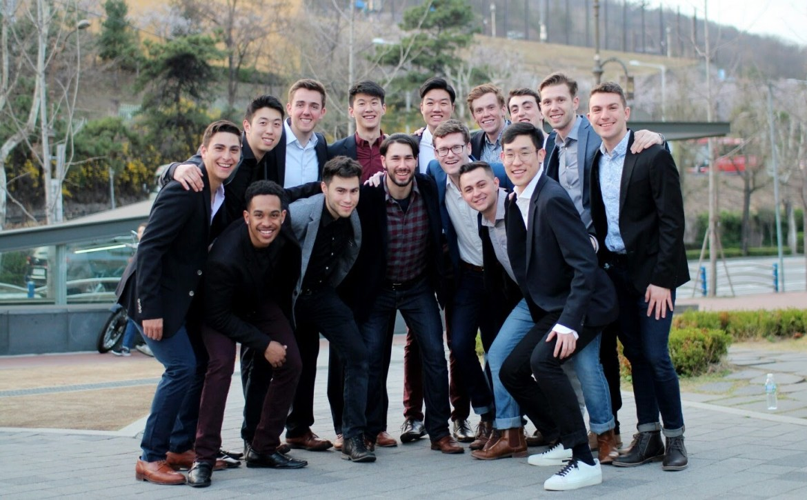 The Men of Last Call performed for the alumni in Asia over spring break, where they were joined by president Martha E. Pollack.