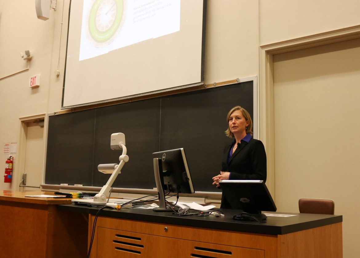 Sarah Zemanick, director of Campus Sustainability Office, speaksMonday as part of the Perspectives on the Climate Change series.
