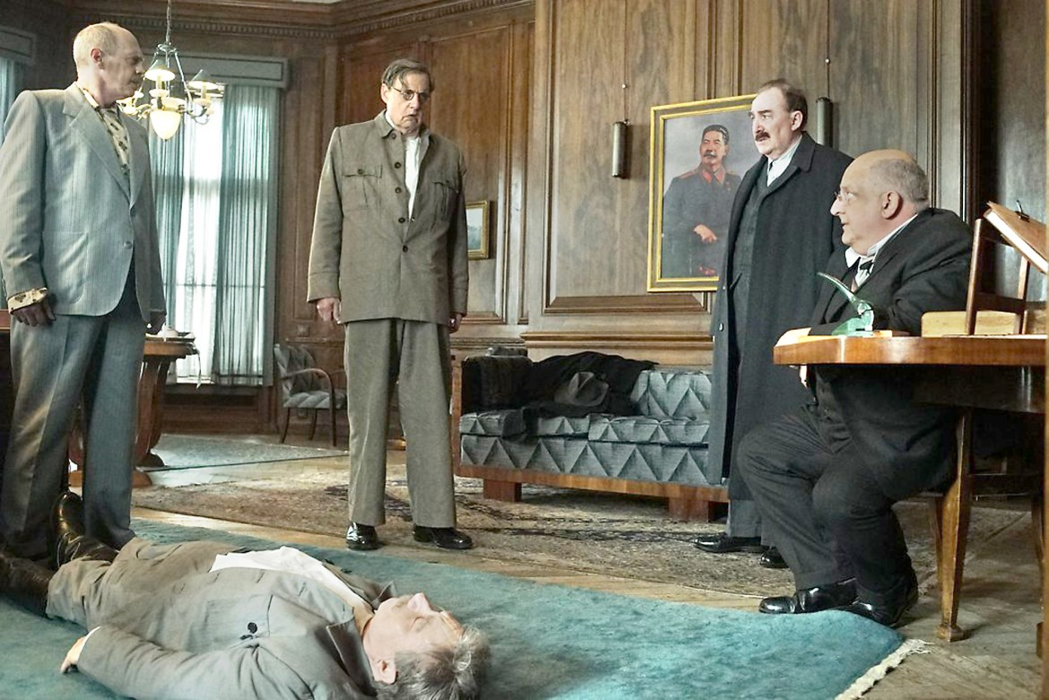 Nikita Khrushchev (Steve Buscemi), Goergy Malenkov (Jeffrey Tambor), Lazar Kaganovich (Dermot Crowley) and Lavrenti Beria (Simon Russell Beale) in The Death of Stalin.