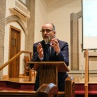 """Ghaith al-Omari spoke in a lecture titled """"Can Progress Be Made Towards Palestinian-Israeli Peace?"""" at St. Luke Lutheran Church on April 25th."""