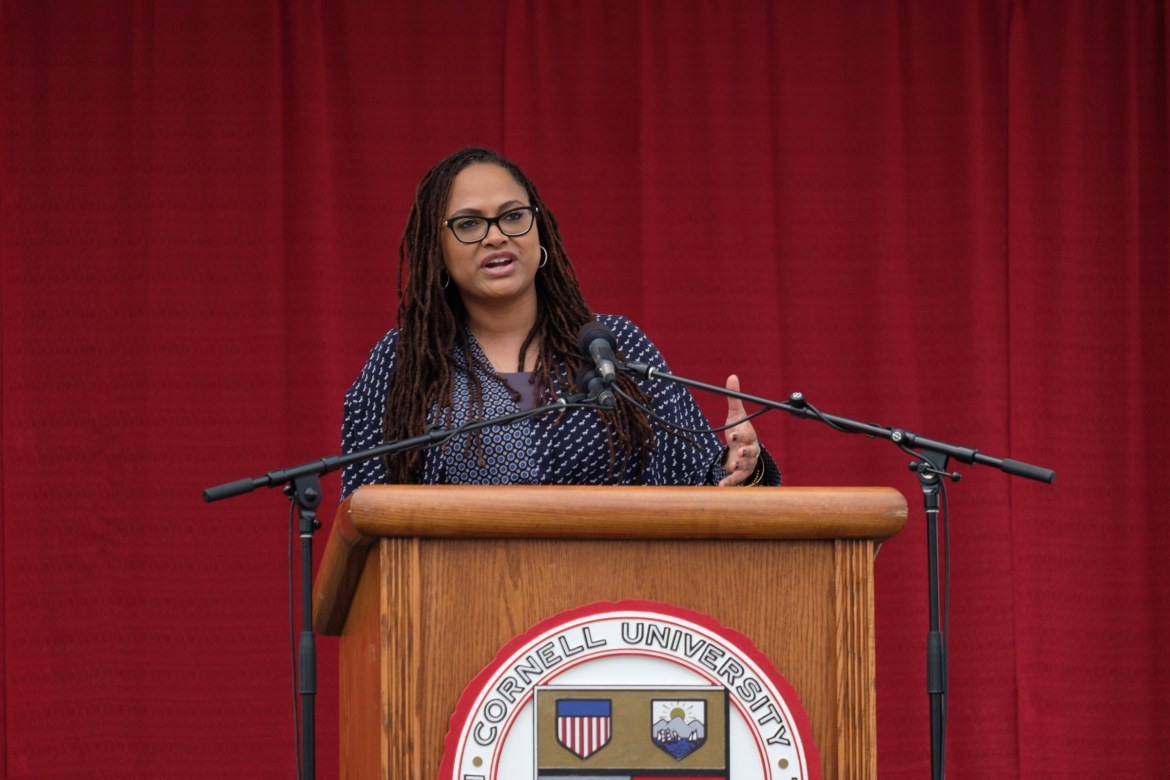 Ava DuVernay, a director who has been nominated for an Academy Award and a Golden Globe, speaks to the Cornell Class of 2018 on Saturday.