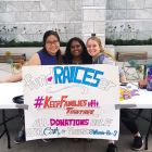 Winnie Ho '19, Sahithi Kalvakota '20 and Rose Ippolito '20 raise money for the Refugee and Immigrant Center for Education and Legal Services, an advocacy and legal services provider, outside of Schwartz Center.