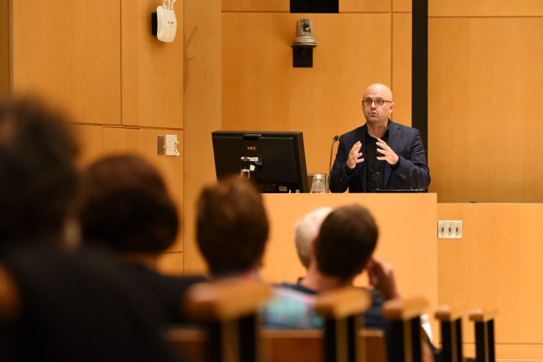 On Wednesday, Prof. Daniel Ziblatt, government, Harvard University, discussed ways democracies have fallen and urged audience members to consider how these cases related to the current state of the American democracy. (Boris Tsang / Sun Assistant Photography Editor)