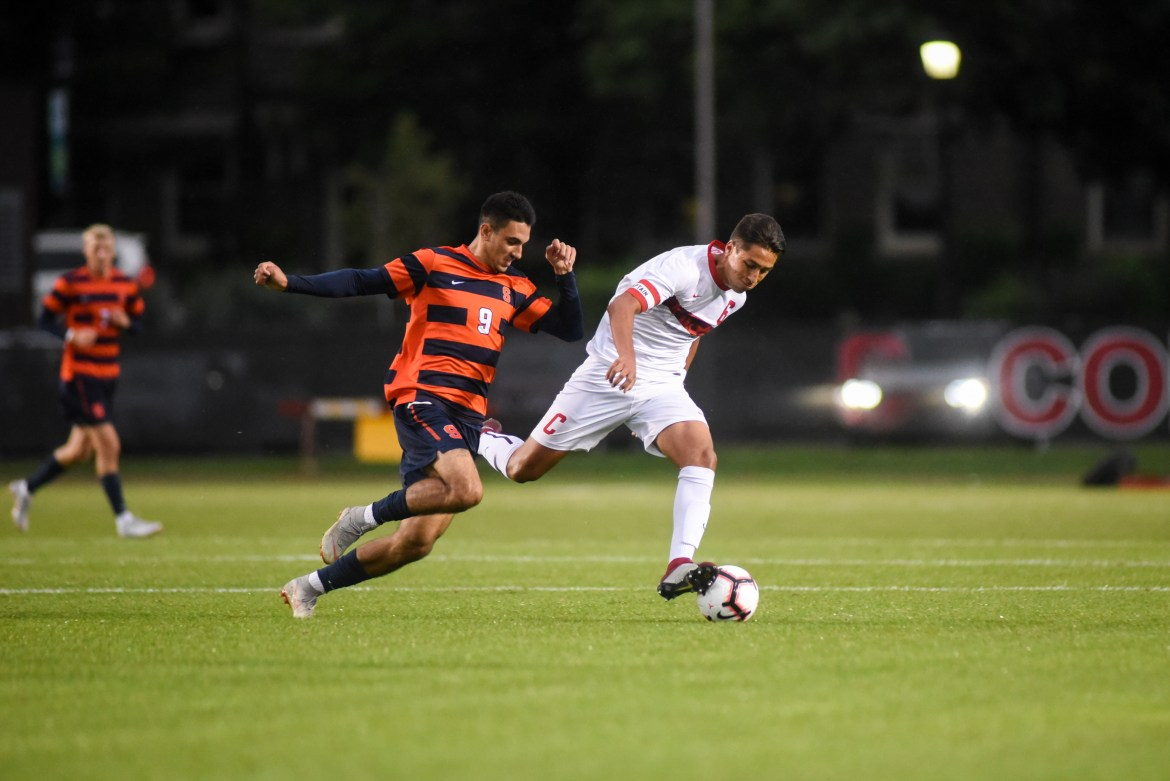 After a 2-0 loss to Syracuse, above, Cornell traveled to California and picked up one win and one loss.