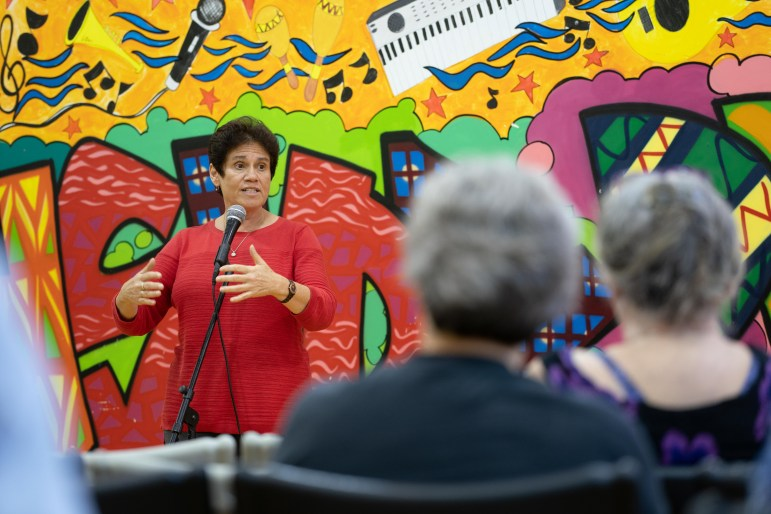 Tracy Mitrano, J.D. '95, Democratic candidate for the 23rd Congressional District of New York, hosted an open forum at the Southside Community Center in downtown Ithaca on Friday. (Ben Parker / Sun Staff Photographer)