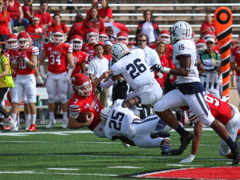 Cornell senior quarterback Dalton Banks is tackled in the loss to Yale in a game where Cornell played the Bulldogs close but came out with another defeat.