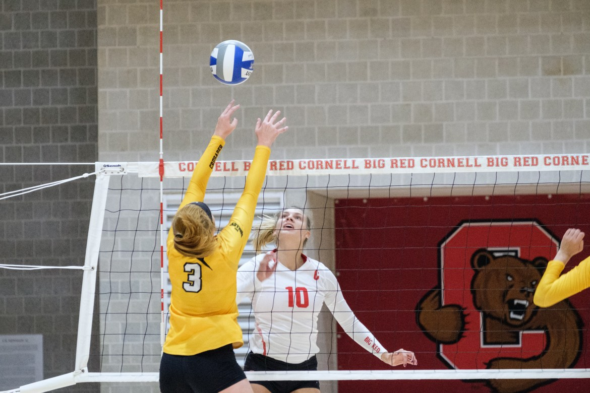 Senior co-captain Kara Rogers (pictured above) landed eight kills against Lamar, helping propel Cornell to a quick sweep of the Texas-based team and its first win of the tournament.