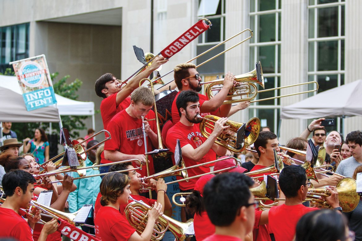 The Big Red Marching Band and the Big Red Pep Band perform at C.U. Downtown on Saturday.