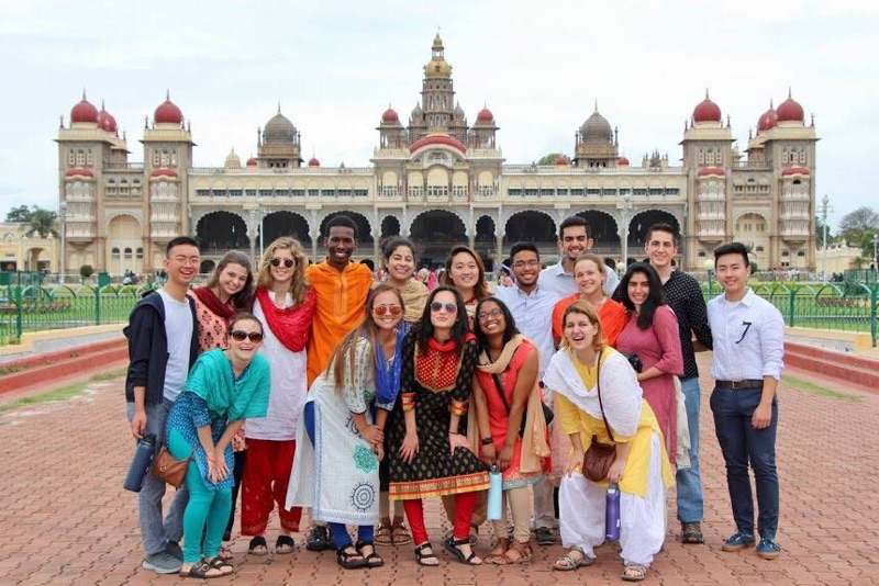 Indian immersion | Students pose outside Mysore Palace in Mysore, India. During the collaboration with the Swami Vivekananda Youth Movement, students were immersed in Indian culture.