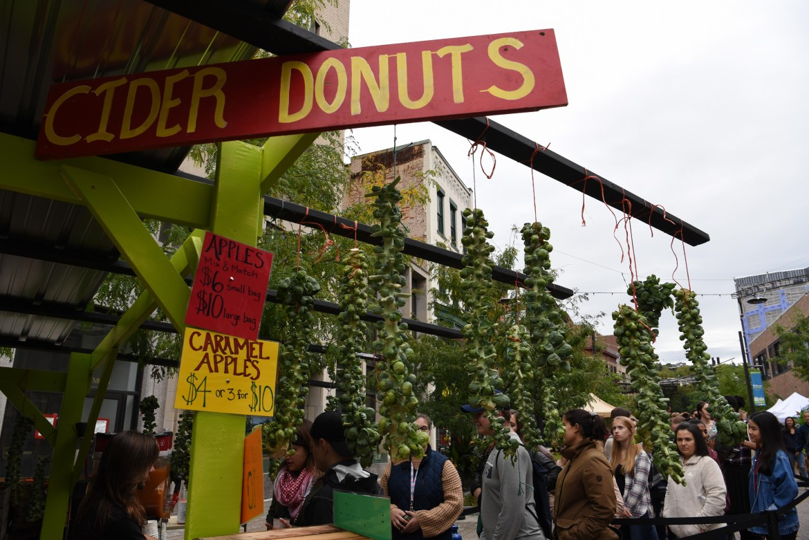 Students wait in long lines for apple cider donuts in the 36th Annual Apple Fest.
