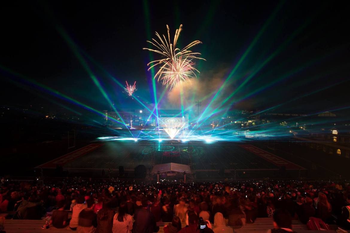 Cornell's fireworks and laser light show from a previous year.