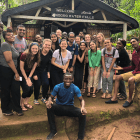 Students from Cornell and Kilimanjaro Christian Medical University-College stop for a photo at Ndoro Waterfalls.