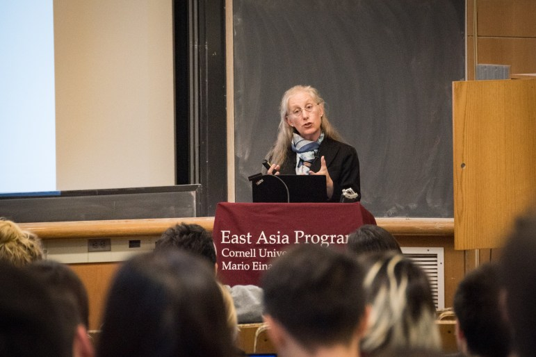 Prof. Karen Eggleston, Asia-Pacific studies, Stanford University, spoke on the difficulties faced by China's booming healthcare system on Monday. (Alice Song / Sun Staff Photographer)