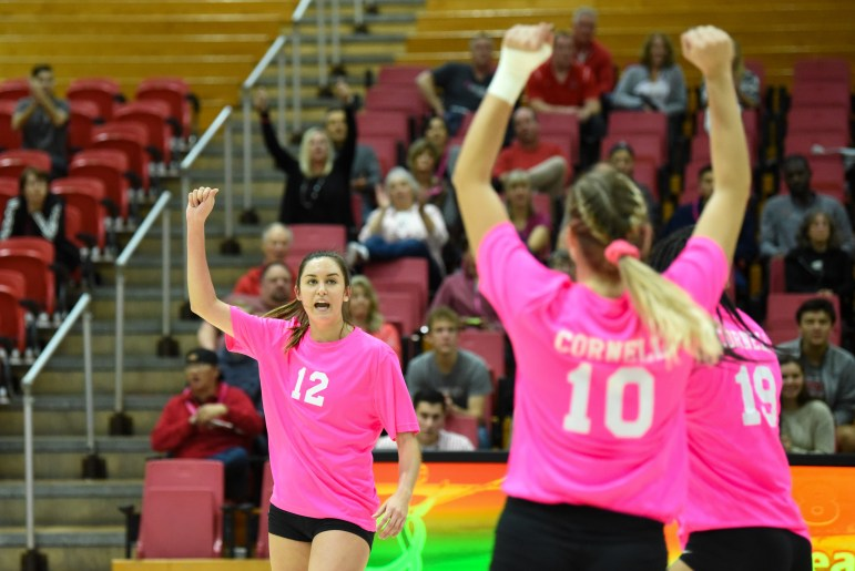 Cornell volleyball overcame a 2-0 deficit to defeat Brown on Friday night. (Boris Tsang / Sun Assistant Photography Editor)