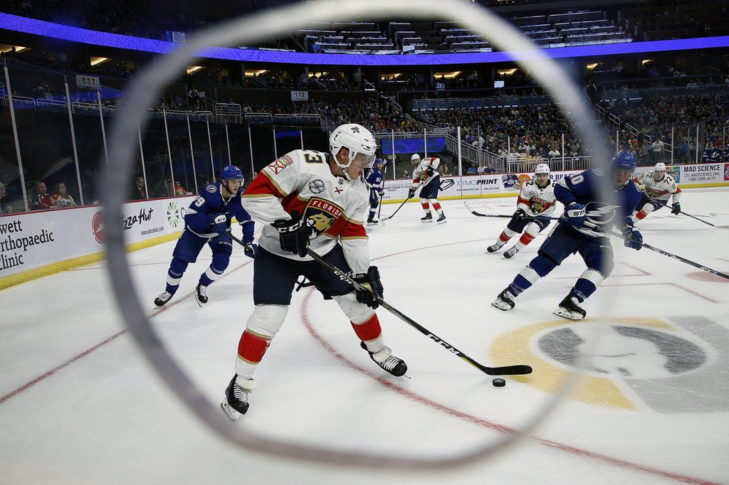 Jacob MacDonald '15 skates with the Panthers in a preseason game against the Lightning. On Saturday, MacDonald scored his first career goal in his first regular season NHL game with the  Panthers.