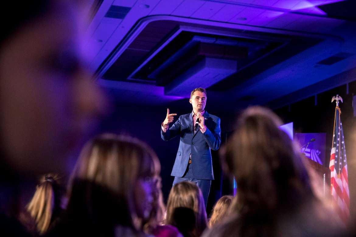 Charlie Kirk, a conservative activist and founder of Turning Point USA, delivers a speech to female voters in Texas in June. Kirk will speak at Cornell on Nov. 13.
