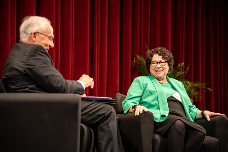 "Retired federal appeals court judge Richard C. Wesley J.D. '74 and Sonia Sotomayor at a ""fireside chat"" at Cornell on Thursday, Oct. 18."