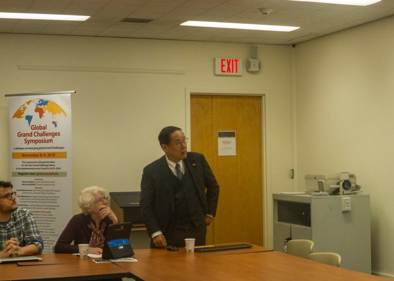 The talk featured Masao Tomonaga, who survived the atomic bombing of Nagasaki, Japan.