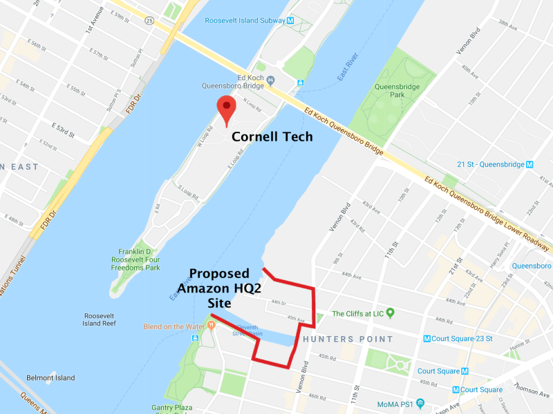 Location, location, location! HQ2 is just a ferry ride away from Cornell Tech.