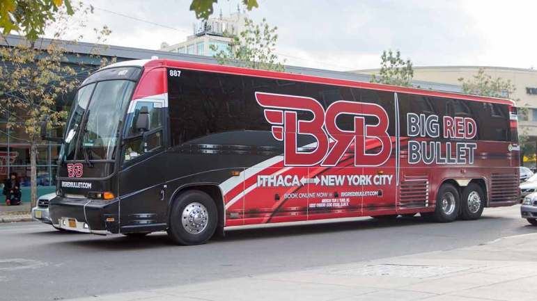 Big Red Bullet is one of several private bus companies that takes students and Ithacans to and from New York City. Ali Nasser M.Eng '10 M.B.A. '15 founded the company in the fall of 2015.