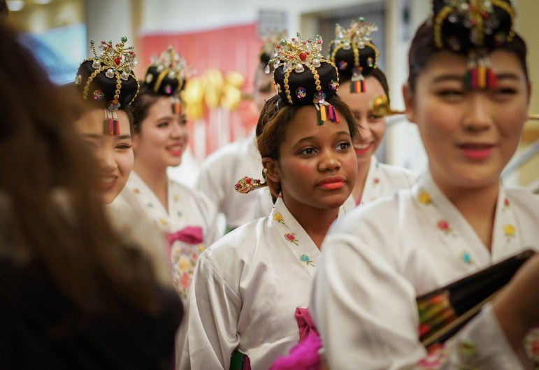 Members of Hanchum, a Korean traditional dance team, prepare to perform at Cornell Chinese Students Association's Midnight Dimsum event at Duffield Hall Saturday night. (Jing Jiang / Sun Staff Photographer)