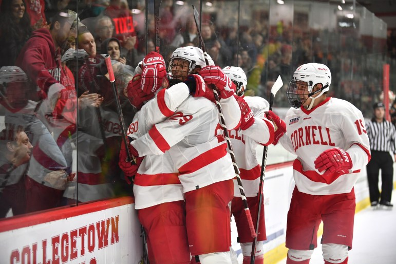 With less than ten minutes to play, sophomore forward Cam Donaldson scored a goal to put Cornell up 4-1 over Princeton on Saturday. (Ben Parker / Sun Assistant Photography Editor)