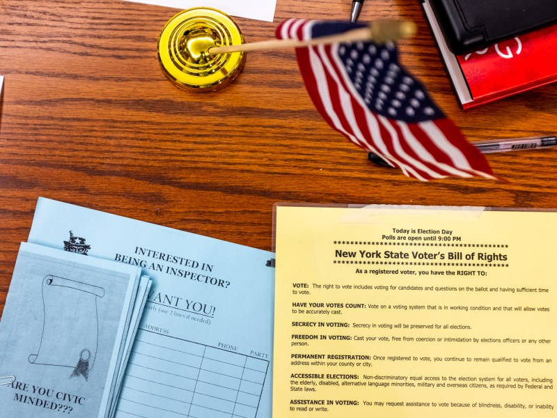 The New York State Voter's Bill of Rights greets voters at St. Luke Lutheran Church, one of five off-campus polling locations near Cornell. (Michael Wenye Li / Sun Photography Editor)