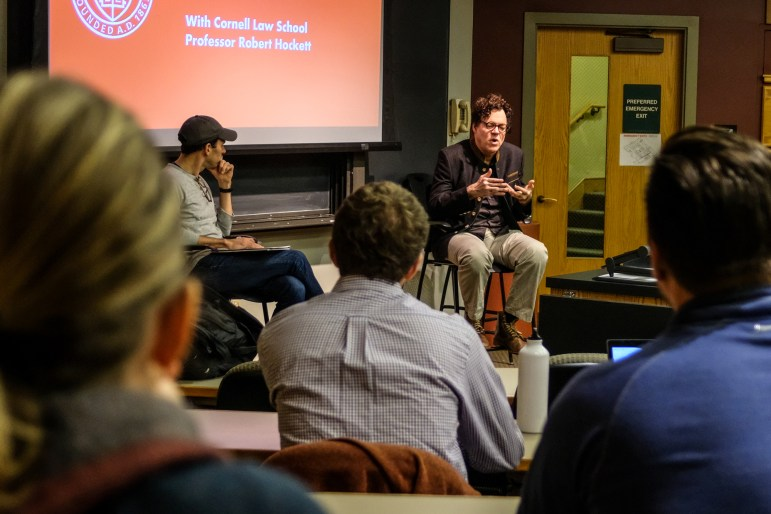 On Monday, Prof. Robert Hockett, Edward Cornell Professor of Law, led a pre-election conversation on the issues facing the country. (Michael Wenye Li / Sun Photography Editor)