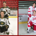 Clockwise from top left: Tristan Mullin, Kyle Betts, Matt Cairns and Cam Donaldson all have come to Cornell after spending time together in the junior hockey leagues.
