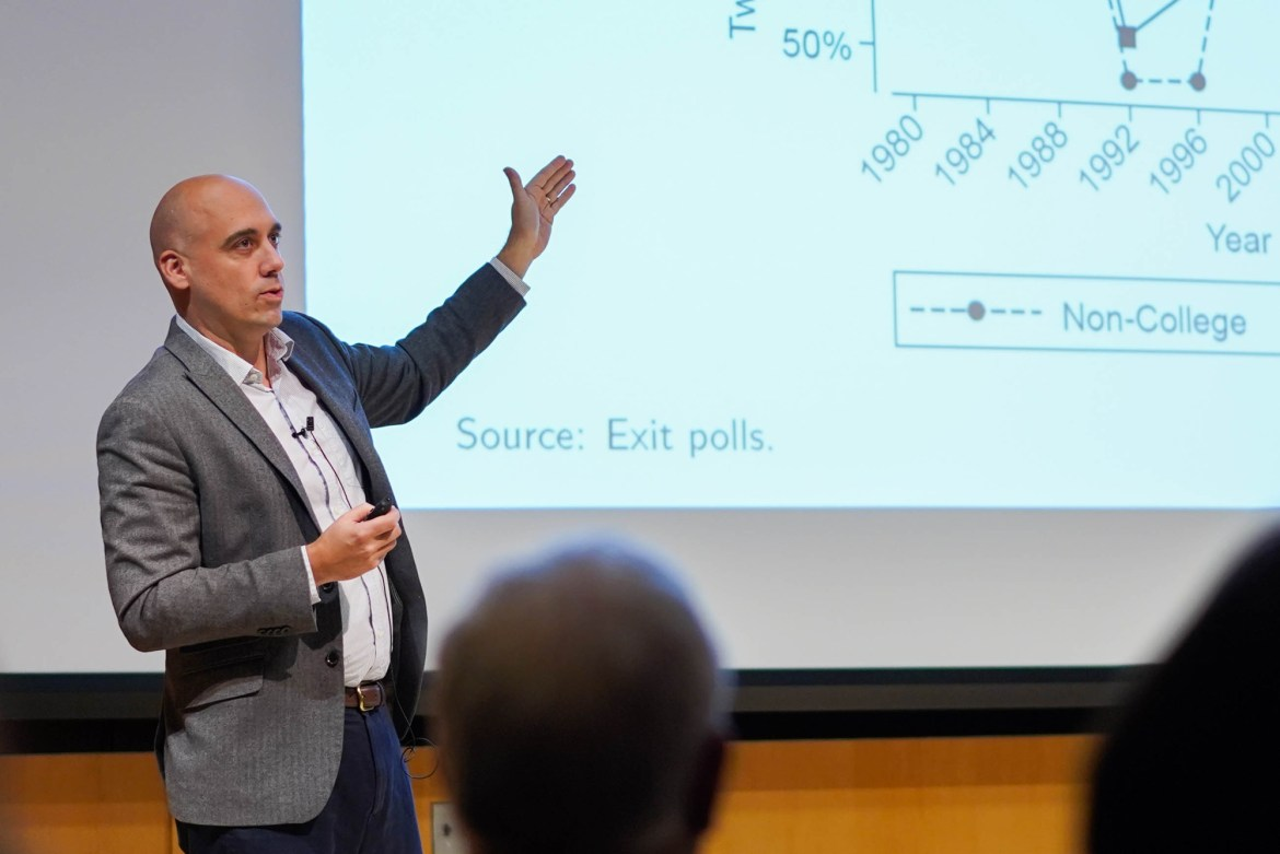 "In his talk ""Racism, Sexism, Class and US Elections,"" Brian Schaffner described various factors that impacted the way Americans voted in the 2016 election."