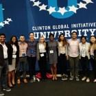 From left, Danindu Udalamaththa, MA '19, Imani Majied '19, Kiyan Rajabi, MS '18, Ghali Jorio '21, Annie Hughey '18, Christine Amenechi '19, Naviya Kothari '20, Rahul Mukherjee '20, Saloni Verma, M.Eng '18, and Winice Hui '21 at the Clinton Global Initiative University conference.