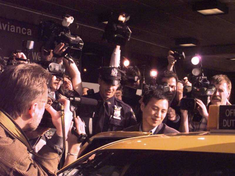 Chinese dissident Wang Dan arriving on April 21, 1998 at Newark International Airport after being exiled from China.