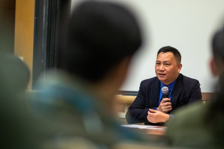 Wang Dan, student leader of the 1989 Tiananmen Square protests, spoke at Goldwin Smith Hall on Wednesday. Wang provided an analysis of China's current state and argued that international support was required for democratization to happen in China. (Michael Wenye Li / Sun Photography Editor)