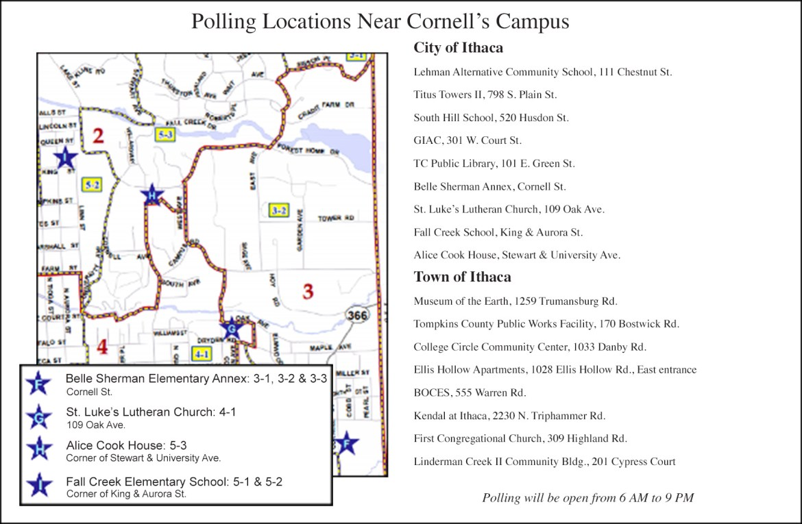 Corrected: The free shuttle buses will take students to the off-campus polling stations.