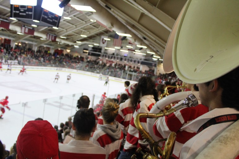 The Big Red Pep Band, as it almost always does, made its presence known in the opponent's rink.
