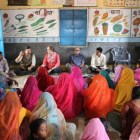 Dr. Prabhu Pingali, the founder of the Tata-Cornell Institute, met with a women's self-help group in India. TCI is having a five-year celebration on Friday.