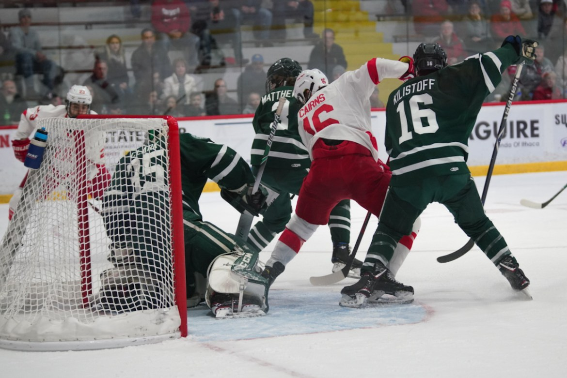 Sophomore defenseman Matt Cairns (pictured) filled in at forward for a depleted Cornell team that beat Dartmouth nonetheless.