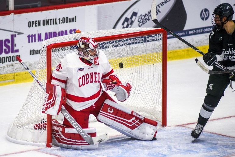 Sophomore goaltender Matt Galajda was pulled from his first two games, but looked better heading into winter break.