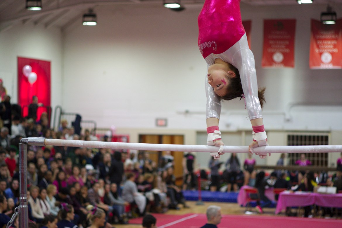 After opening its season with two straight last-place finishes, gymnastics recovered in the form of a convincing victory over regional rival SUNY Cortland.