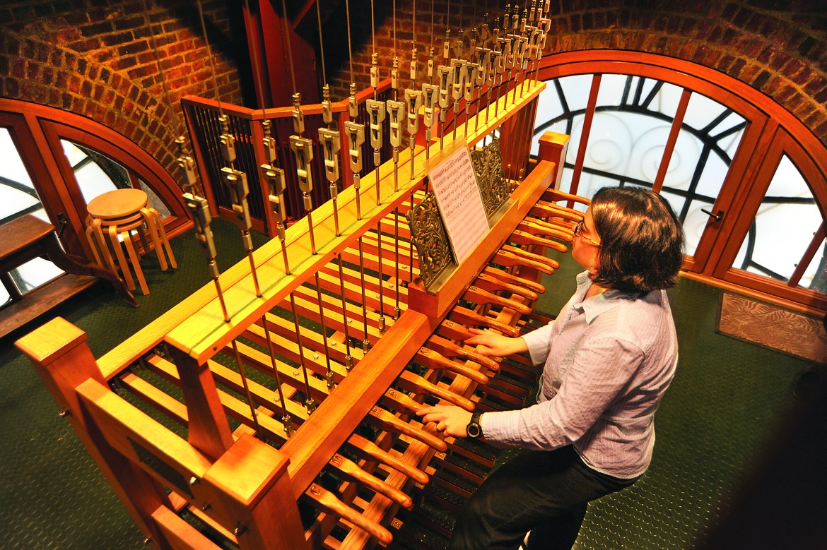 Cornell's chimes sit 161 steps above Ho Plaza in McGraw Tower and are open to the public during each thrice daily concert.