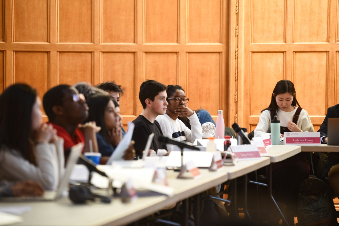 Representatives, including newly-elected Moriah Adeghe, attend this week's Student Assembly meeting.